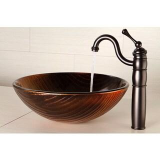 Amber Goldtone Glass Vessel Bathroom Sink