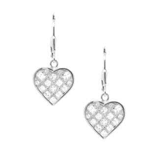 Sterling Silver Cubic Zirconia Heart Shape Dangle Earrings