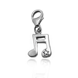 Gioelli Sterling Silver Diamond Accent Music Note Charm