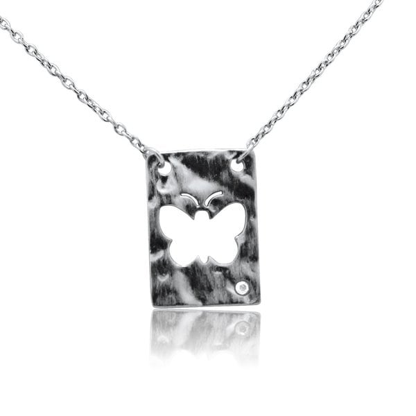 Gioelli Sterling Silver Diamond Accent Butterfly Necklace