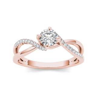 De Couer 10k Rose Gold 1/2ct TDW Diamond Engagement Ring (H-I, I2)