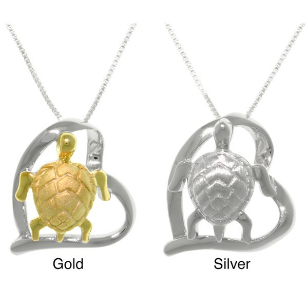 CGC Goldplated or Sterling Silver Turtle in Heart Pendant Necklace