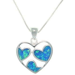 CGC Sterling Silver Loving Hearts Created Opal Necklace
