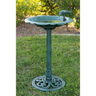 Blue Resin Bird Bath with Solitary Bird on Side