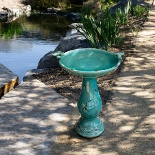 Turquoise Antique Ceramic Bird Bath with Two Birds