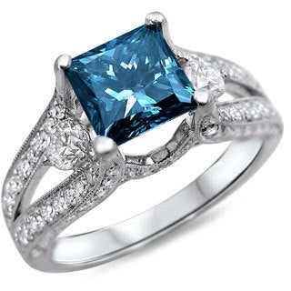 18k White Gold 2ct TDW Blue/ White Princess-cut Diamond Ring (F-G, SI1-SI2)