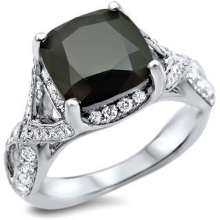 Noori 18k White Gold 3 1/4ct Black/ White Cushion-cut Diamond Engagement Ring (G-H, SI1-SI2)