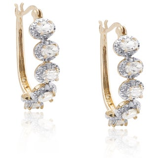 Dolce Giavonna Gold Over Sterling Silver White Topaz Diamond Accent Hoop Earrings