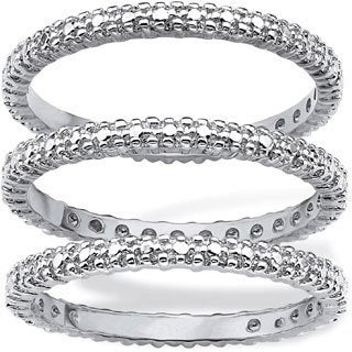 PalmBeach Platinum Overlay Diamond Accent Eternity Band Set Diamonds & Gems