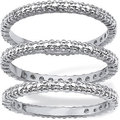 PalmBeach Platinum Overlay Diamond Accent Eternity Band Set