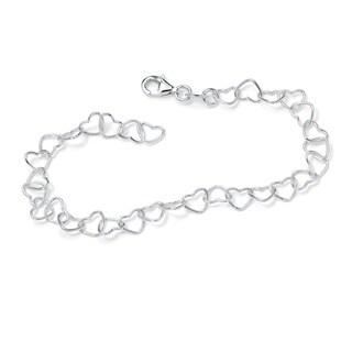 Toscana Collection Sterling Silver Heart-link Ankle Bracelet