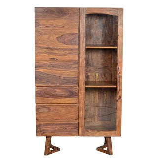 Sheesham Walnut Display Armoire Cabinet with 3-shelves