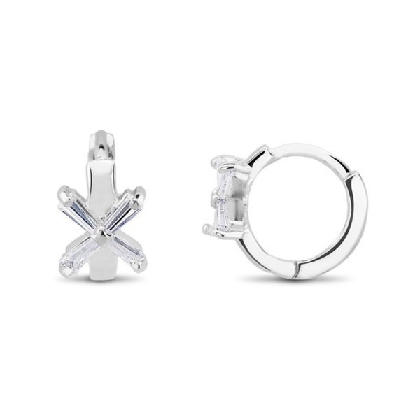 Sterling Silver Cubic Zirconia X Cuff Earrings