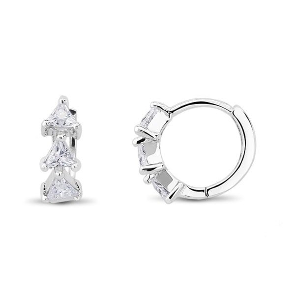 Sterling Silver Loop Trillion-cut Cubic Zirconia Cuff Earrings