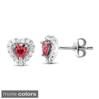 Sterling Siver Cubic Zirconia Heart With Birthstone Stud Earrings