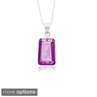 Sterling Silver Amethyst Cubic Zirconia June Birthstone Initial Necklace