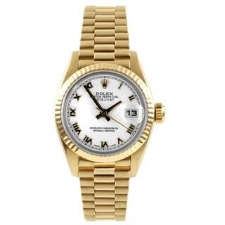 Pre-Owned Rolex Women's President Yellow Gold Fluted Bezel Watch