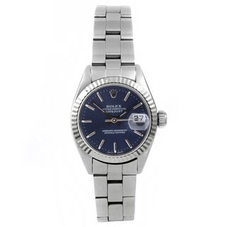 Pre-owned Rolex Women's Datejust Stainless Steel Blue Index Dial Automatic Watch