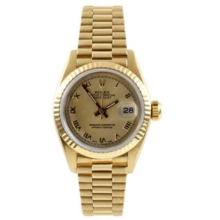 Pre-Owned Rolex Women's President Yellow Gold Champagne Dial Watch