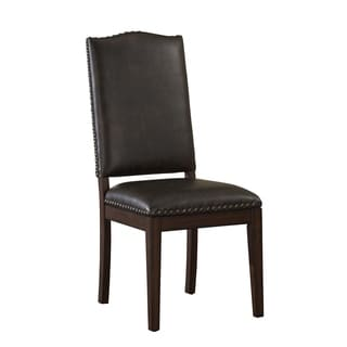 Wilmington Brown Leather Dining Chair with Nailhead Accents