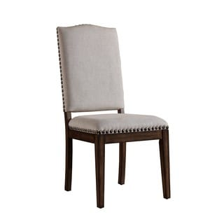 Wilmington Light Brown Linen Dining Chair with Nailhead Accents