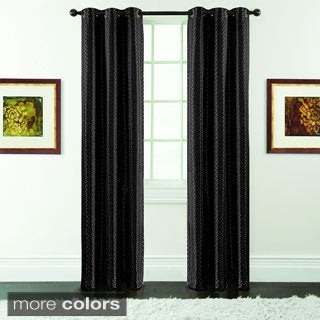 Drake Geometric Jacquard Blackout Grommet-top Curtain Panel Pair