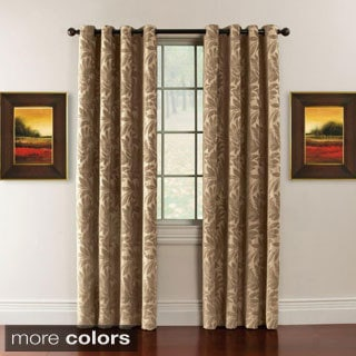 Alessandra Chenille Leaf Grommet Top 84-inch Curtain Panel Pair