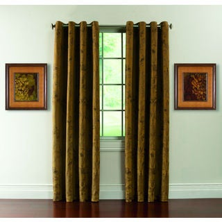 Susannah Woven Damask Grommet-top 84-inch Curtain Panel Pair
