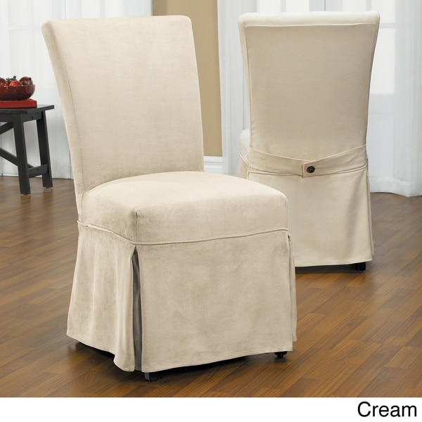 Luxury Suede Chair Relaxed Fit Long Dining Slipcover with Buttons In Cream (As Is Item)