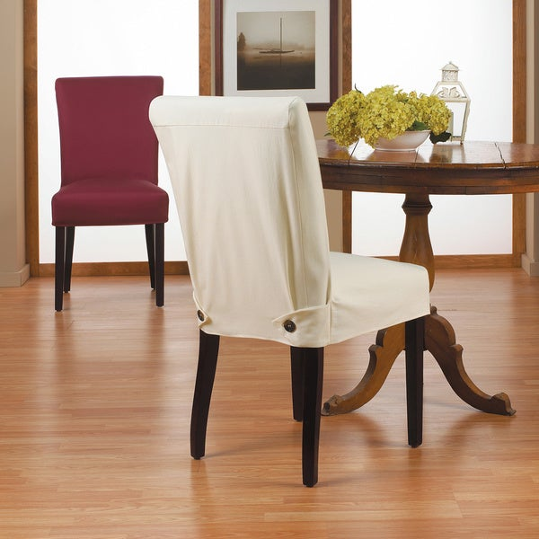 duck short relaxed fit dining chair slipcover with buttons