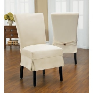 Duck Mid-Pleat Relaxed Fit Dining Chair Slipcover with Buttons