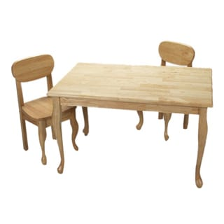 Gift Mark Home Kids Hardwood Rectangle Natural Table And Chair Set