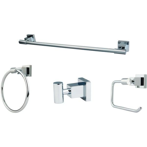 4-piece Polished Chrome Bathroom Accessory Set