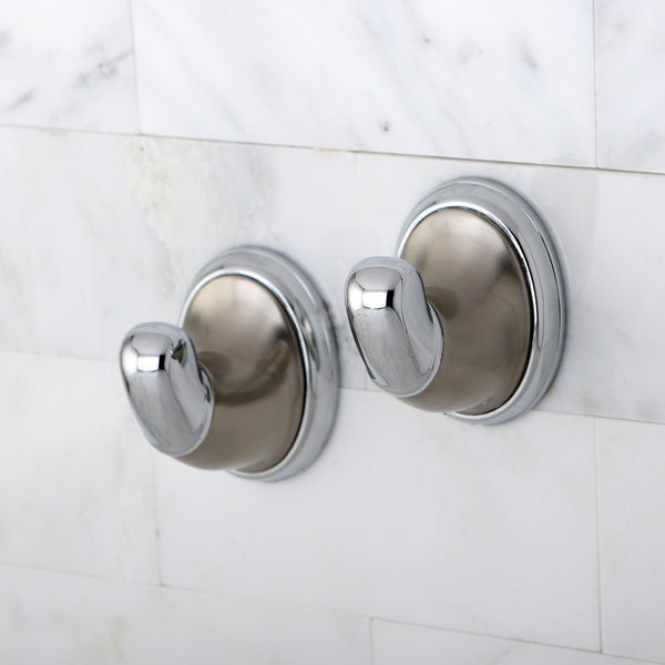 Satin Nickel and Chrome Robe Hook (Set of 2)