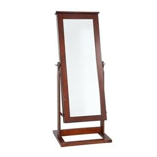 Powell Walnut Cheval Jewelry Wardrobe with Mirror