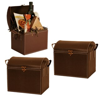 Wald Imports Faux Leather Trunk (Set of 3)