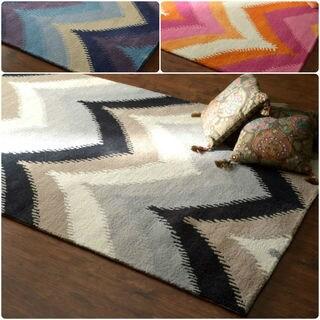 nuLOOM Modern Hand-tufted Ikat/ Chevron Wool Rug (9' x 12')