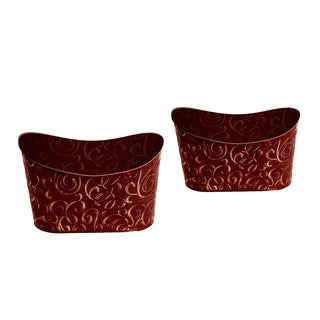 Double 6-inch Metal Planter (Set of 2)
