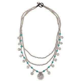 Silvertone andTurquoise Blue Beaded Multi-row Necklace (India)
