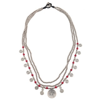 Silvertone and Coral Red Beaded Multi-strand Necklace (India)