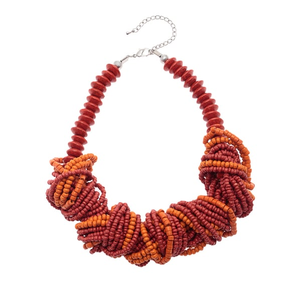 Handmade Red/ Orange Twisted Wood Bead Necklace (India)
