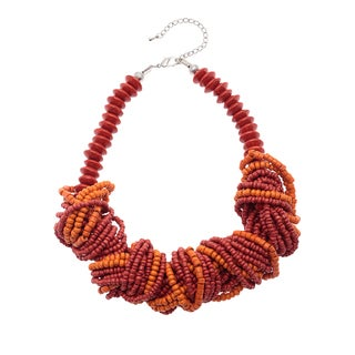 Handmade Red/ Orange Twisted Wood Bead Necklace (India)