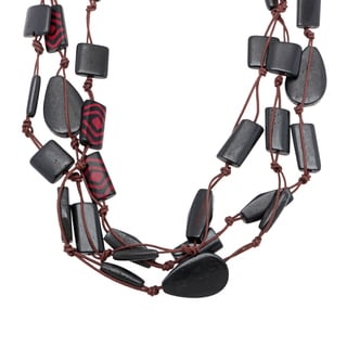 Hand-painted and Carved Wood Bead Multi-strand Necklace (India)