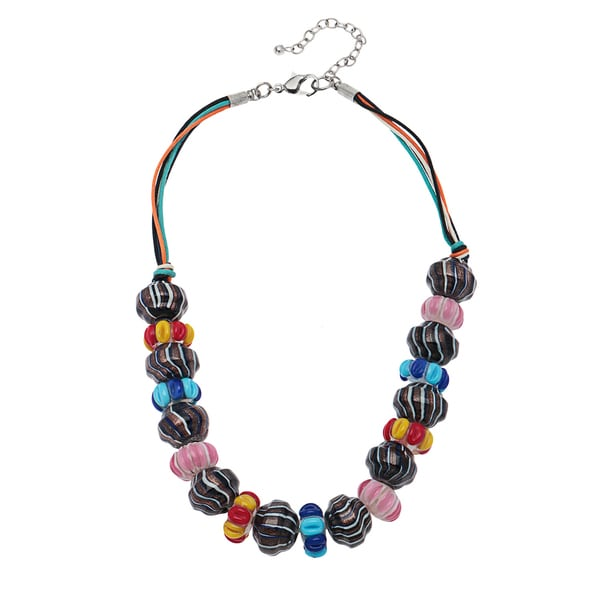 Handmade Candy Striped Glass Bead Necklace (India)