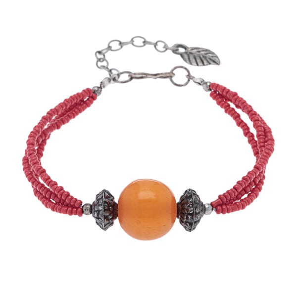 Handmade Amber/ Coral Beaded Bracelet (India)