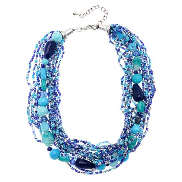 Deep Sea Blue Beaded Multi-strand Necklace (India)