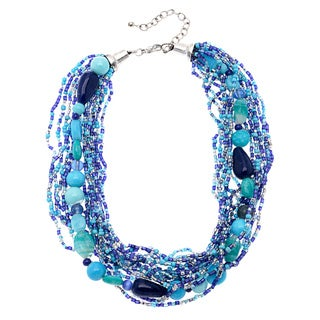 Deep Sea Blue Beaded Multi-strand Necklace (India)