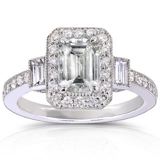 Annello 14k White Gold 1 1/2ct TDW Certified Emerald-cut Diamond Halo Engagement Ring (G-H, SI2)