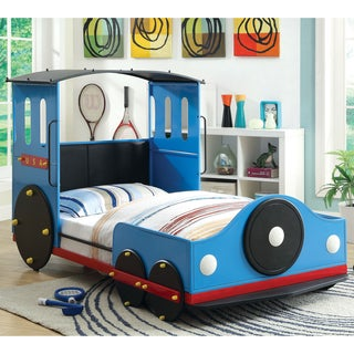 Furniture of America Blue Train Locomotive Metal Youth Bed