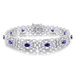 Miadora Sterling Silver Created Blue Sapphire and 1/5ct TDW Diamond Bracelet (I-J, I2-I3)
